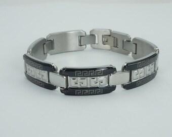 Men's Stainless Steel Greek Key Design Bracelet, Men's Bracelet, Link Bracelet, Stainless Steel and Black Bracelet