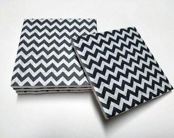 Black Chevron Coasters - Chevron Home Decor - Drink Coasters - Tile Coasters - Ceramic Coasters - Table Coasters On Sale