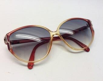 Vintage Christian DIOR 2307 80 sunglasses burgundy / honey rhinestones