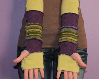 Fingerless Gloves - Arm Sleeves - Wrist Warmers - Upcycled -