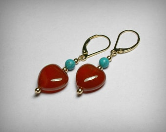 Carnelian Earrings Turquoise Earrings, Red Dangle Drop Earrings, Genuine Carnelian Turquoise, 14K Yellow Gold Filled, Lever Back Earrings