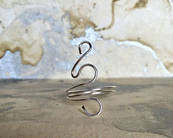 Sterling Silver Wire Wrapped Ring, Swirl Ring, Silver Ring, Adjustable Ring