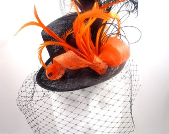 Mini top hat, black and orange, burlesque headpiece hatinator