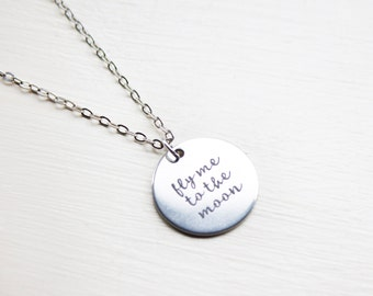 Fly Me To The Moon Necklace - Custom Moon Phase Necklace - Custom Personalised Moon - Fly me to the moon necklace