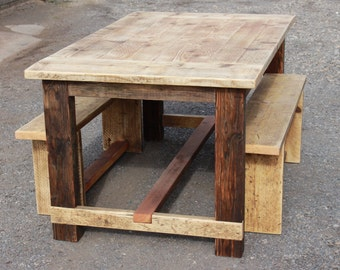 Reclaimed Wood Dining Table and Benches