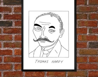 Badly Drawn Thomas Hardy  - Literary Poster - *** BUY 4, GET A 5th FREE***
