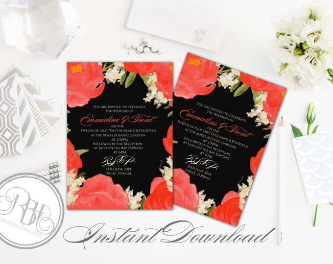 """Red Black Watercolor Wedding Invitation Template-INSTANT DOWNLOAD-5x7 PDF Editable Text Only-Watercolor Red Peonies-""""Nadine"""""""