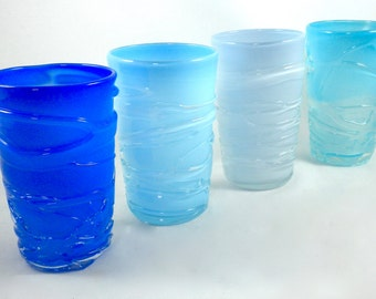 Water Glasses- opaque hand blown glass cups, glass water cups, blue, spring, summer, winter, glass tumbler, great gift idea, price per glass