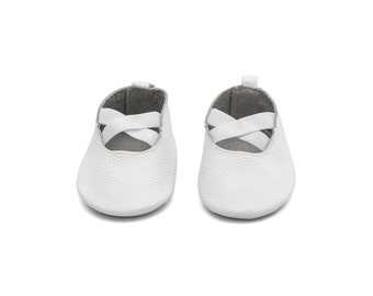 Handmade Genuine Leather Mac&Lou Baby Girl Ballerina Shoes Sandals Moccasins Babies Booties Shoes Baby Shower Gift Christmas Gift White