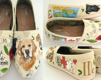 Wedding Shoes Gift for the Bride Bridal Shower Gift Bridal Shoes Flats Bridal Shoes Ivory Unique Wedding Shoes Hand Painted Shoes women TOMS