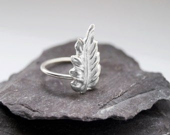 Autumn Leaf Sterling Silver Ring ~ ring, statement ring, silver, fine silver, leaf, nature, winter, stacking, silver clay, bold