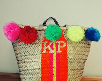 Monogram basket Monogram bag Personalised bag initial bag