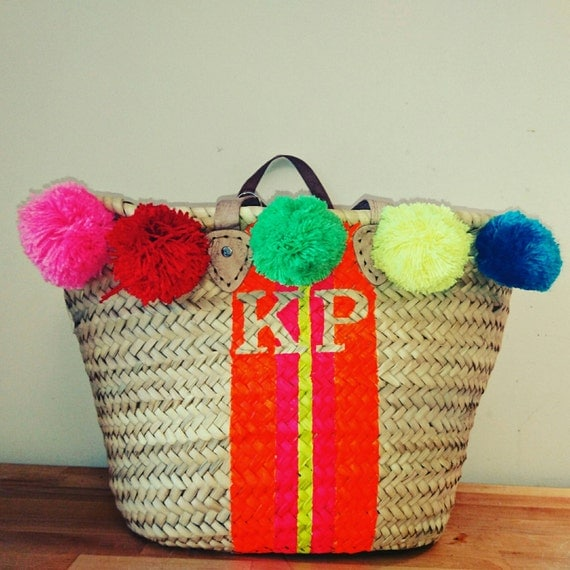 Personalised neon French market bagMoroccan basketBeach
