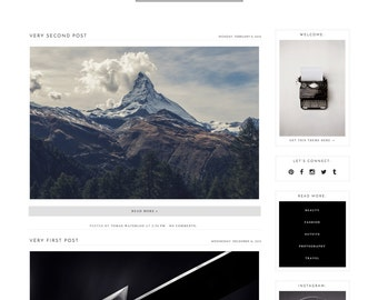 "Responsive Blogger Template ""Milkyway"" / Instant Digital Download Premade Blog Theme Design"