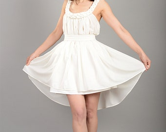 Tunic Dress, Plus Size Dress, White Loose Dress, Womens Drape Tunic, See Through Dress, Braid Flared Dress, Open Back Dress