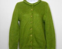 Vintage 1960s pea green button up cardigan by Jane Irwill // 60s fuzzy acrylic mod sweater XS - As Is