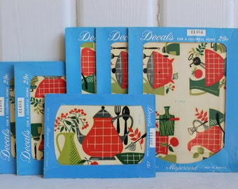 Retro KITSCHY KITCHEN Meyercord Decals Red & Green TEAPOT 1950's 1960's 6 Pkgs Included