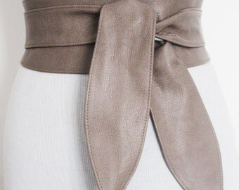 SALE! Taupe Brown Leather Tulip Tie Obi Belt | Leather tie belt | Real Leather Belt| Handmade Corset Belt | Plus size belts