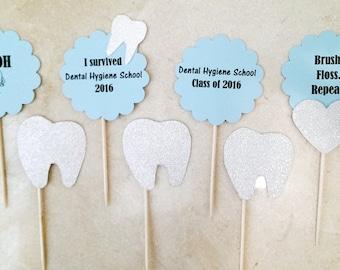 Dental Hygiene School Graduation, Dental Cupcake Toppers, Dental Graduation Party, Dental Hygienist Graduation Party, Dental assistant, 2018