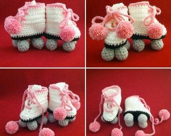 Handmade Crocheted Baby Retro Roller Skate Booties/Baby Shower Gift