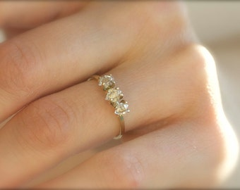 Solid Gold Herkimer Engagement Ring. 14k Gold Ring. 18k Gold Ring. Solid Gold Ring. Yellow Gold Diamond Engagement Ring. White Gold Ring.