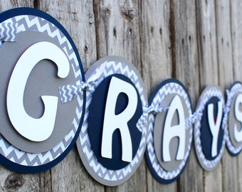 Chevron Baby Shower Banner - Chevron Nursery Decor - Baby Shower Decor - Gray Chevron Baby -  Chevron Baby - Boy Baby Shower