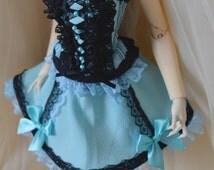 Black and light blue corset - cute little girly elegant lolita evening fantasy theatre - MSD BJD 1/4 girl doll - fits minifee resinsoul