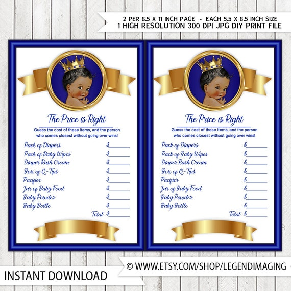 Prince Price Is Right Baby Shower Game Royal Blue Gold Ethnic