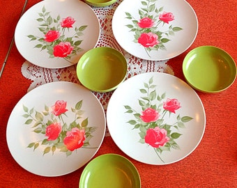 Cute set of melamine dinner plates and bowls for 4