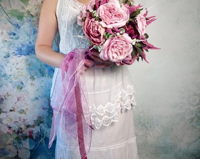 Heather flower calluna peonies pink lilac purple wedding BOUQUET satin ribbon chiffon bride boho autumn fall woodland rustic