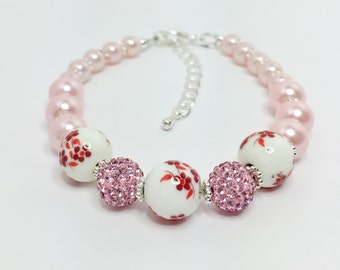 Pink Red Beaded Bracelet Pink Sparkly Jewelry Red Flower Bracelet Pink Pave Crystal Disco Ball Bracelet Unique Gift for Her Pretty in Pink