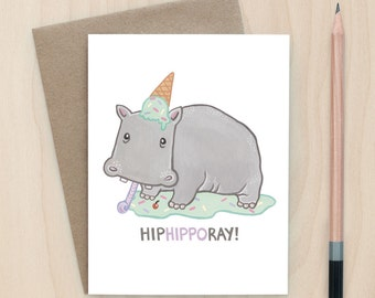 HipHippoRay! - A2 Greeting Card