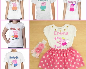 Peppa Pig family shirts, Peppa Pig Shirt, Family Shirt, Peppa Pig Birthday Shirt, Peppa Pig Birthday, Peppa Pig,Personalized Peppa Pig Shirt