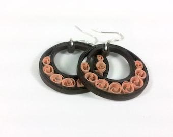 Brown Hoops Paper Quilling Earrings - paper quilled earrings, paper jewelry, paper earrings, brown earrings, hoop earrings, earth tones