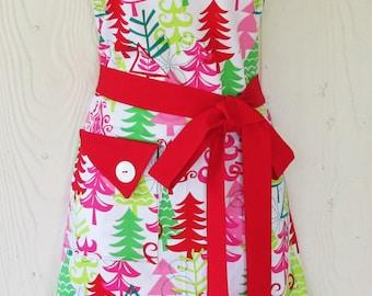 Christmas Apron, Christmas Trees, Retro Christmas Apron, Women's Full Apron, Vintage Style Apron, KitschNStyle