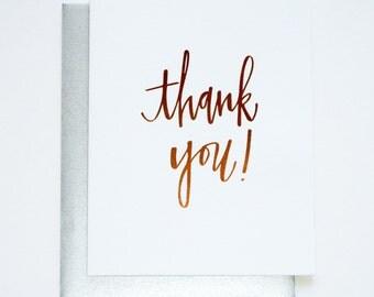 Rose Gold Foil. Chic. Glam. Thank You Letterpress Card
