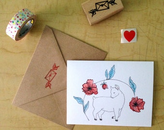 Lamb with Poppies - Greeting Card
