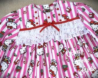 Toddler Christmas pajamas , kids christmas pajamas , girls holiday pajamas ,  pink flannel pajamas , kitty pajamas , ready to ship size 4