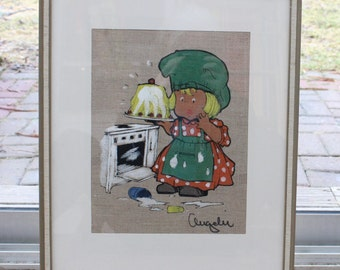 Adorable vintage retro art: hand printed motif of a young girl baking a cake and smears all over the place.