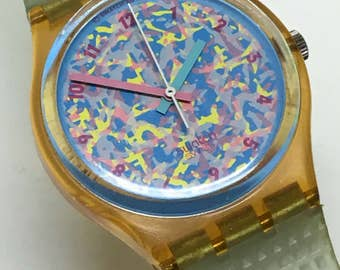 Vintage Swatch Watch Rosehip GP100 1989 Green Rose Peach Blue Pink