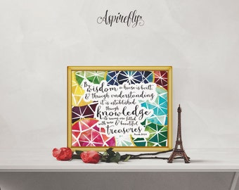 Bible Verse Scripture Printable Proverbs 24 3 4 - By Wisdom A House Is Built - Printable Women Gift Art Print gems printable scripture art