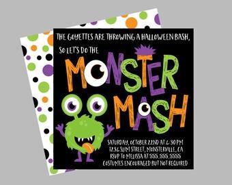 Halloween Monster Party Invitation. Halloween Monster Bash Invitation. Personalized, Digital Invitation.