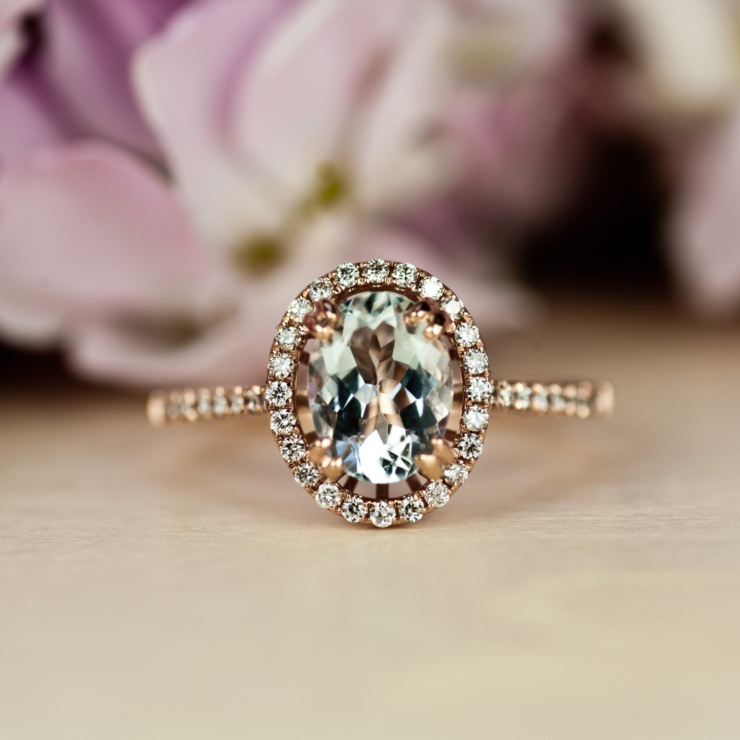 aquamarine engagement ring unique engagement ring rose gold. Black Bedroom Furniture Sets. Home Design Ideas