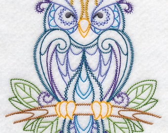 FINELY FEATHERED OWL Vintage Openwork Machine Embroidered Quilt Square, Art Panel