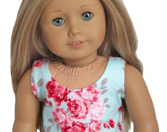 American Girl Doll Clothes.  Aqua Tank Top with Pink Roses.