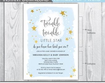 twinkle twinkle little star invitation / twinkle twinkle little star baby shower invitation / twinkle twinkle little star / INSTANT PDF DOCX
