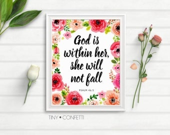 God is within her she will not fail, God is within her she will not fall wall art, bible scripture, bible quote, christian, bible verse, PDF