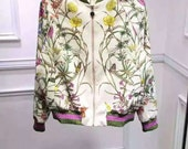 Garden Printed Silk Bomber Jacket Souvenir Jacket