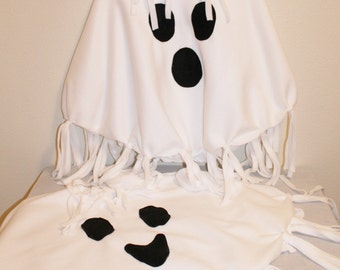 """Ghost Costume Spooky Ghost Friendly Ghost Halloween Ghost Poncho - Children Toddler Petite Adult Unisex - MADE TO ORDER select 12"""" or 20-21"""""""