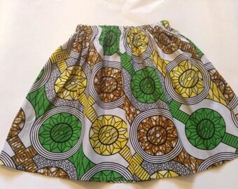 Girls COTTON SKIRT AFRICAN print summer elasticated waist hand made